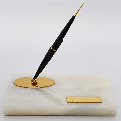 Parker 45 Magnetix Desk Fountain Pen - Black Pen, Cream Marble Base, Medium Nib (Near Mint, Works Well)
