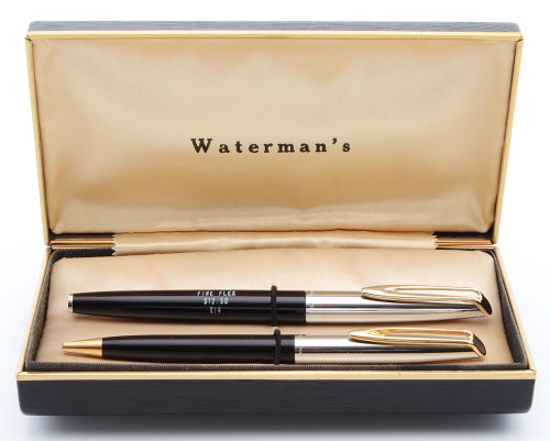 Waterman CF 1250 Fountain Pen Set (1950s) - Black w Steel Caps, 14k Fine Flex Nib (Superior in Box, Works Well)