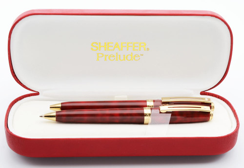 Sheaffer Prelude 357 Ballpoint and Pencil Set - Red and Black Lacquer with Gold Plated Trim (Mint in Box)