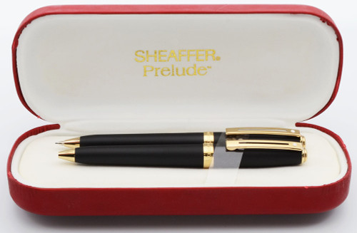 Sheaffer Prelude 346 Ballpoint and Pencil Set - Matte Black with Gold Plated Trim (Mint in Box)