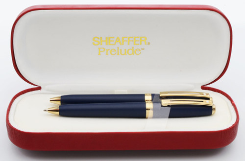 Sheaffer Prelude 347 Ballpoint and Pencil Set - Matte Navy Blue with Gold Plated Trim (Mint in Box)