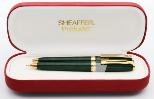 Sheaffer Prelude 358 Ballpoint and Pencil Set - Green Marble Lacquer with Gold Plated Trim (Mint in Box)
