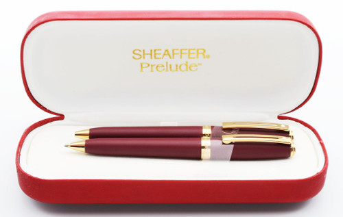 Sheaffer Prelude 348 Ballpoint and Pencil Set - Matte Burgundy with Gold Plated Trim (Mint in Box)