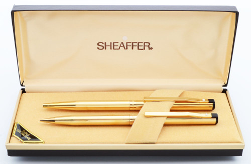 Sheafer TRZ Model 65 Ballpoint and Mechanical Pencil Set (1980s) - Gold Lined Electroplated,  (New Old Stock in Box)