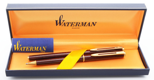 Waterman Executive Fountain Pen and Pencil Set (1976-89) - Burgundy Marble Lacquer,  C/C, Medium 18k Nib (Excellent, in Box, Works Well)