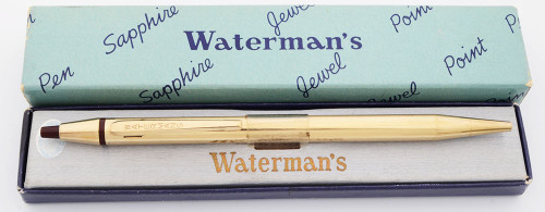 Waterman Sapphire Jewel Point Ballpoint Pen (1950s) - 22k Electroplated Gold Lined (Near Mint in Box))
