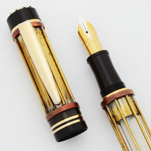 Unknown Steampunk Style Fountain Pen - Brass, Copper, & Black, Fine Nib (Excellent, Works Well)