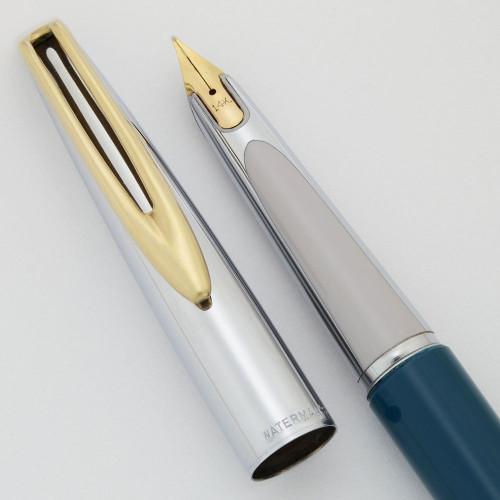 "Waterman CF ""875"" Fountain Pen (1950s) - Teal Blue w Shiny Steel Cap, 14k Medium Nib (Near Mint, Works Well)"