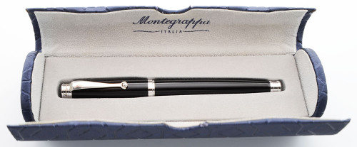 Montegrappa Memoria Fountain Pen - Black w/Platinum Plated Trim, 18k Medium Nib (Near Mint in Box)