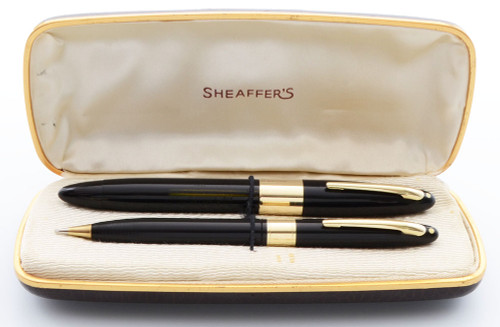 Sheaffer Lifetime Triumph 1250 Fountain Pen and Pencil Set (1940s) - Fat Black Version w Wide Gold Bands, Vac-Fil, Medium-Broad Triumph Nib (Excellent + in Box, Restored)