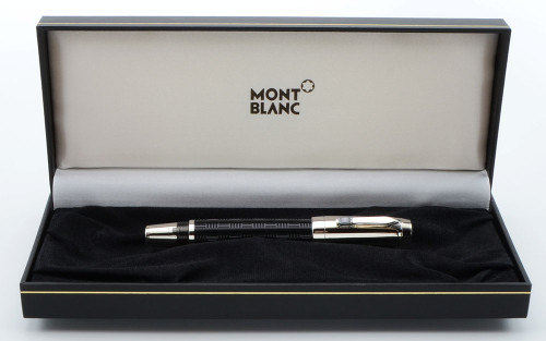 Montblanc Boheme Doue Fountain Pen  - Black Chased, Platinum Trim, Retractable, 18k Medium Nib (Near Mint in Box, Works Well)