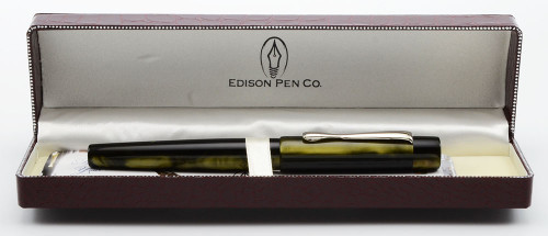 Edison Hudson Fountain Pen - Emerald Pearl Acrylic, 1.1mm Stub (Excellent in Box, Works Well)