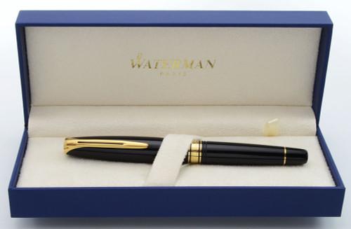 Waterman Charleston Fountain Pen - Ebony Black, Gold Trim, Fine 18k Nib (Near Mint in Box, Works Well)