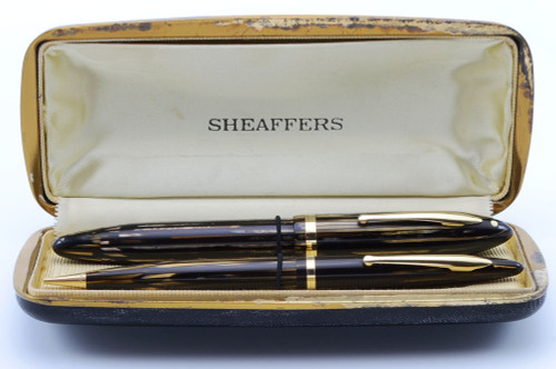"Sheaffer Balance Lifetime ""Premier"" Set - Brown Striated, Oversized, Vac-Fil, 14k Extra Fine Nib (Very Nice in Box, Restored)"