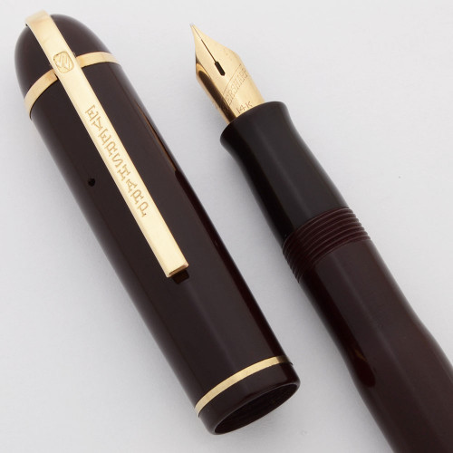 Eversharp Skyline Demi Fountain Pen (1940s) - Burgundy, Lever Filler,  Manifold Fine 14k Nib (Excellent, Restored)