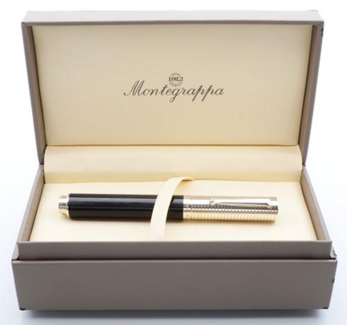 Montegrappa Espressione Duetto Fountain Pen - Black, Sterling Trim, 18k Fine (Excellent, Works Well)