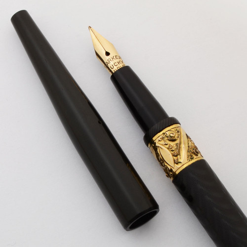 Parker #6 Lucky Curve Fountain Pen (1900s) -  Eyedropper, BHR w Two Bands, Flexible Fine (Superior, Works Well)