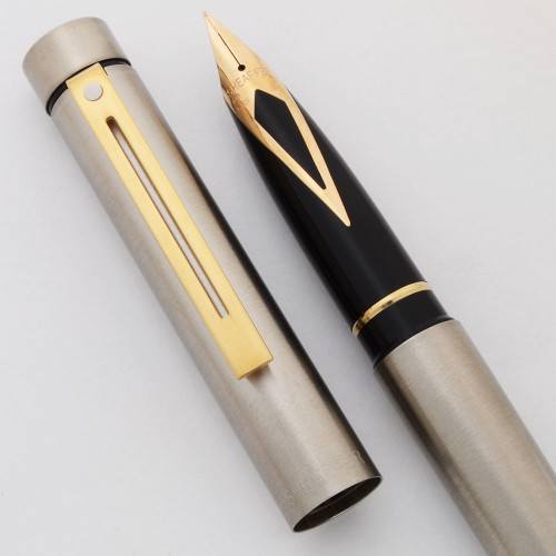 Sheaffer TARGA 1001X Fountain Pen (1978-88) - Brushed Steel w Gold Trim, 14k Nibs (New Old Stock in Box)