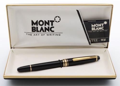 Montblanc Meisterstuck 144 Fountain Pen - Black, Gold Plated Trim, 14k Medium Nib (Excellent in Box, Works Well)