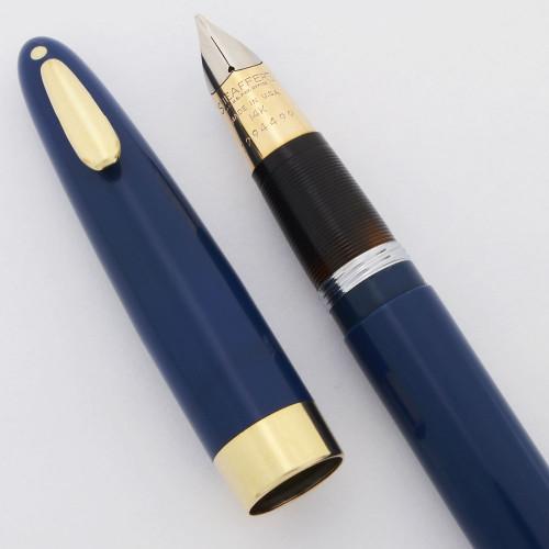Sheaffer Tuckaway Saratoga Fountain Pen -  Persian Blue, Vac-Fil,  Medium 14k Gold Nib (Excellent, Restored)
