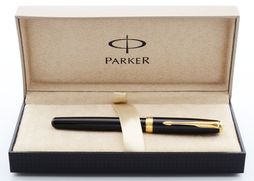 Parker SONNET Rollerball Pen (2015) - Black Lacque , GT Trim (Excellent + in Box, Works Well)