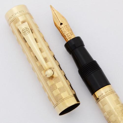 Moore Fountain Pen (1920-30s) - Gold Filled Checkerboard, Full Flex Fine #2 Nib (Superior, Restored)