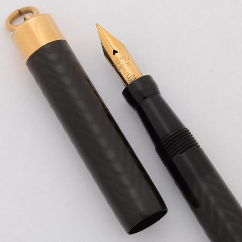 "Dunn ""Humming Bird"" Ring Top Fountain Pen (1921-4) -- BCHR, Red Hard Rubber Knob, Flexible 14k #1 Nib (Excellent, Restored)"