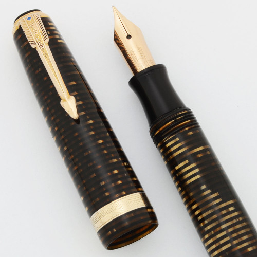 Parker Vacumatic Debutante Fountain Pen (Unusual) - Golden Pearl, Blue Diamond  Clip, Medium 14k Nib (Excellent, Restored)