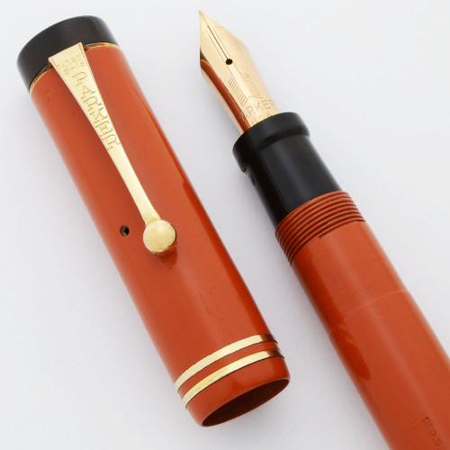 Parker Duofold Senior Fountain Pen (1920s) - Orange, Two Bands, Extra Fine 14k Nib (Very Nice, Restored)