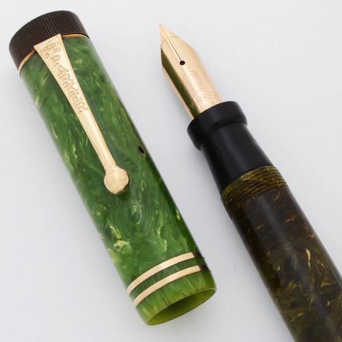 Parker Duofold Senior Fountain Pen (1920s) - Jade Green,  Button Filler, Extra Fine Vacumatic Nib (Very Nice, Restored)