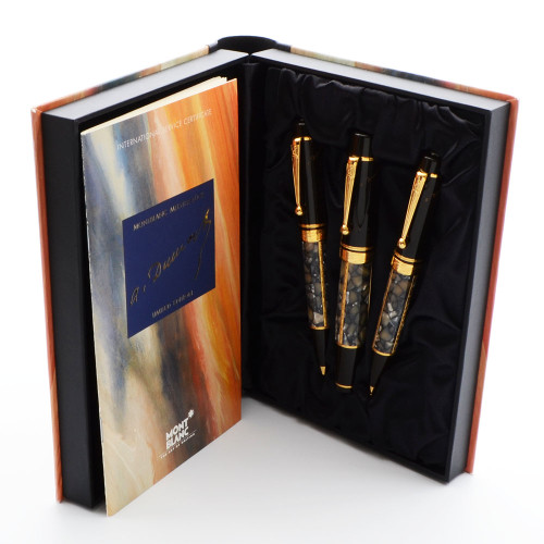 RARE (Recalled) Montblanc Writers Edition LE Three Piece Pen Set (1996) - Alexandre Dumas, White Marble, 18k Medium (Superior in Box, Works Well)
