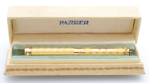 Parker Jack Knife Lucky Curve 70s Fountain Pen (1910s) -  Gold Filled Overlay, Telescoping Ringtop, Eyedropper, Fine Flexible Nib (Excellent + in Box, Restored)