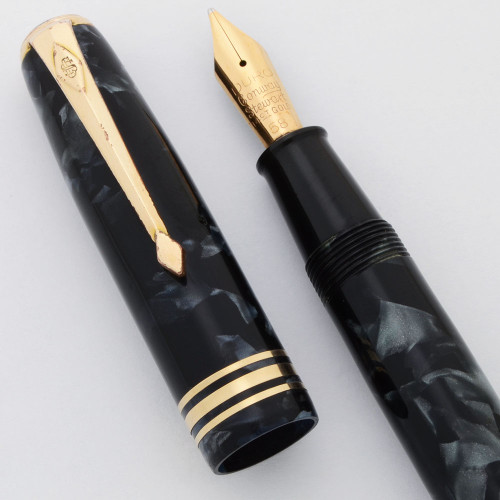 Conway Stewart 58 Fountain Pen (1950s) - Marbled Blue,  Lever Filler, Flexible Medium 14k Gold Nib (Excellent, Restored)