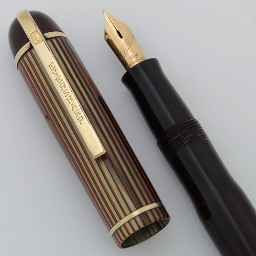 Eversharp Skyline Demi Fountain Pen (1940s) - Burgundy, Striped Cap, Lever Filler, 14k Manifold Fine (Excellent, Restored)