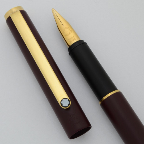 Montblanc Noblesse I Slim Line Fountain Pen (1974-80)  - Matte Burgundy, Broad Gold Plated Nib (Excellent, Works Well)
