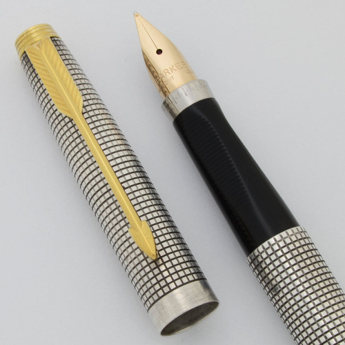 Parker 75 Cisele Fountain Pen (USA) - Sterling, Gold Trim, Dish Tassies,  C/C, Medium 14k Nib (Superior, Works Well)