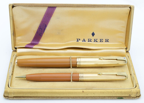 Parker 51 Vacumatic Double Jewel Set (1948) - Gold Caps w 14k Trim, Yellowstone Mustard, Fine (Excellent in Box, Restored)