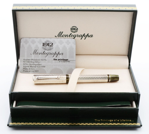 Montegrappa Eleganza  Rollerball Pen - Sterling Silver with Opalescent Green Ends (Mint in Box, Works Well)