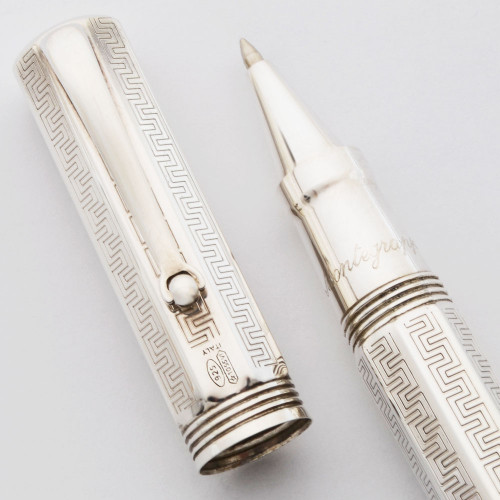 Montegrappa Reminiscence Rollerball Pen (Large) - Octagonal Sterling, Greek Key  (Near Mint, Works Well)