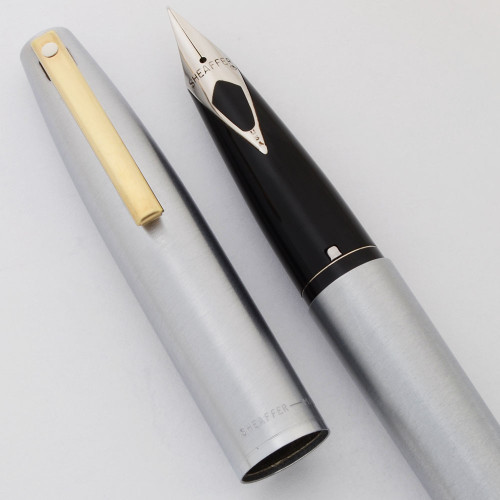 Sheaffer 444X Fountain Pen - Brushed Chrome w Gold Clip, Fine Steel Nib (Excellent, Works Well)