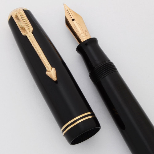 Parker Vacumatic Junior Fountain Pen (1948) - Laminated Black, Medium Semi-Flex 14k Nib (Very Nice, Restored)