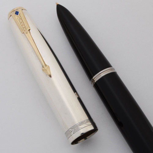 Parker 51 Vacumatic First Year Fountain Pen - Black, Rare Smooth Sterling Silver Cap w/Gold Clip, Aluminum Jewels (Excellent +, Restored)