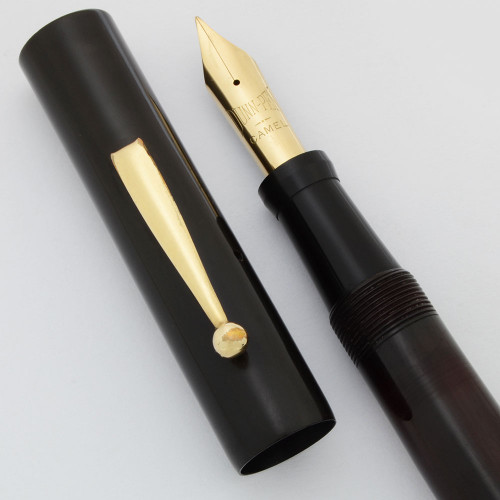 Dunn Tattler Fountain Pen (1921-7) -- Oversize Red Bakelite, Red Casein Pump Handle, Flexible Fine Dunn-Pen Nib (Excellent, Restored)