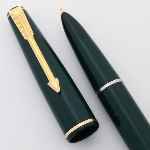 Parker 17 Lady Fountain Pen (UK) - Aerometric, Green w Gold Trim, Left Oblique Nib (Excellent, Works Well)