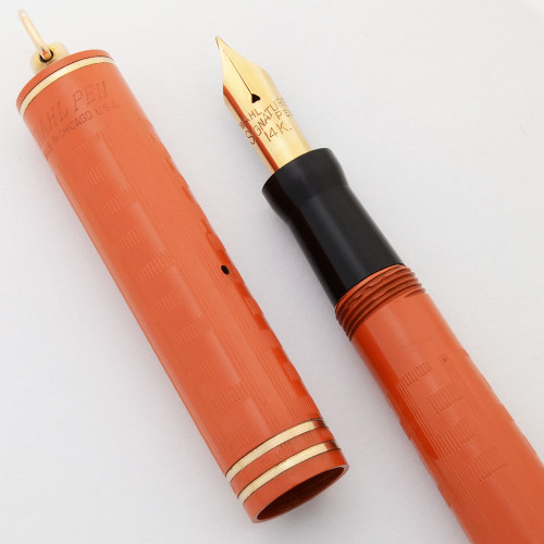 Wahl Eversharp Signature Ring Top Fountain Pen - Red Hard Rubber, Greek Key Pattern, Fine Semi-Flex Nib (Superior, Restored)