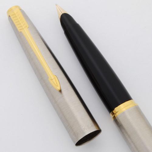 Parker 45 Flighter Fountain Pen (1970s) - Brushed Steel, Gold Trim, 10k Fine Nib (Excellent +, Works Well)