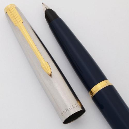 Parker 45 Classic Fountain Pen - Blue Body, Flighter Cap w Chrome Trim, Medium Steel Nib (Very Nice, Works Well)