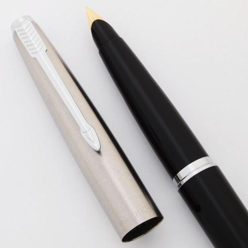 Parker 45 Classic Fountain Pen  -  Black, Steel Cap w/Chrome Trim, Fine 14k Nib (Excellent, Works Well)