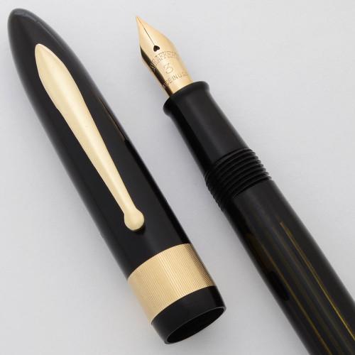 Sheaffer Balance Full Size Fountain Pen - Jewelers Band, Vac-Fil, Black, #3 Fine 14k Nib (Excellent, Restored)
