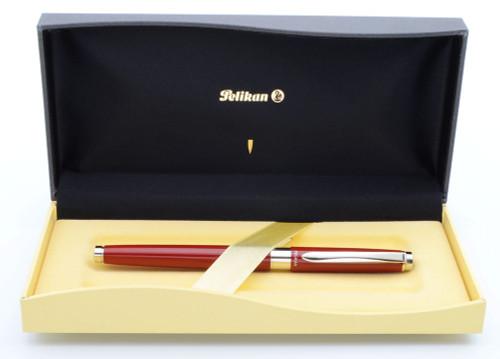 Pelikan Celebry Fountain Pen (1997) - Red w/Chrome Trim, Fine Steel Nib (Near Mint in Box, Works Well)